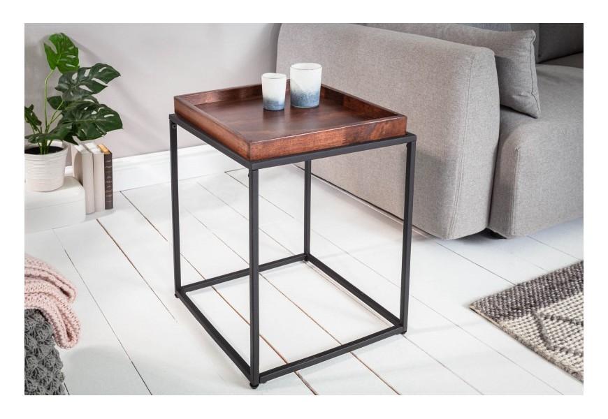 Kovový štvorcový príručný stolík Elements s odnímacou tmavohnedou povrchovou doskou z bukového dreva