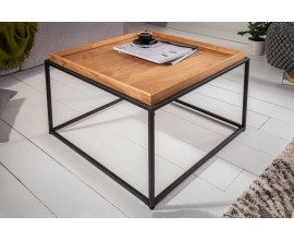 Industriálny vkusný štvorcový konferenčný stolík Elements s odnímacou drevenou povrchovou doskou
