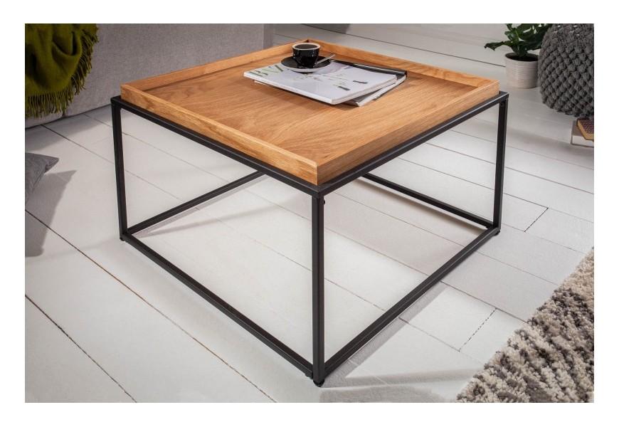 Kovový konferenčný stolík Elements drevenou povrchovou doskou v industriálnom štýle
