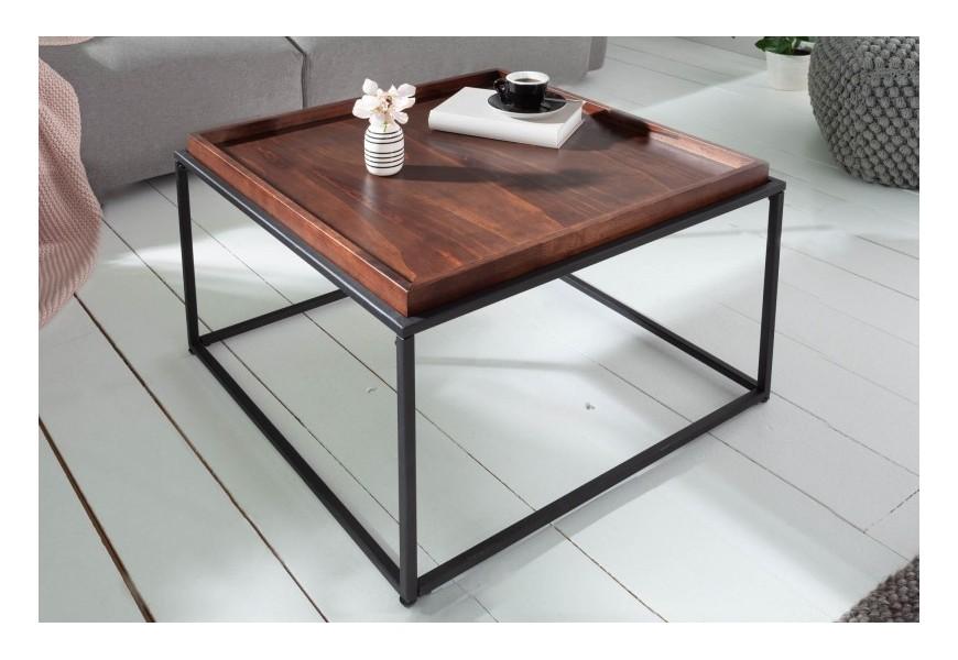 Čierno-hnedý konferenčný stolík Elements v industriálnom štýle s odnímateľnou doskou