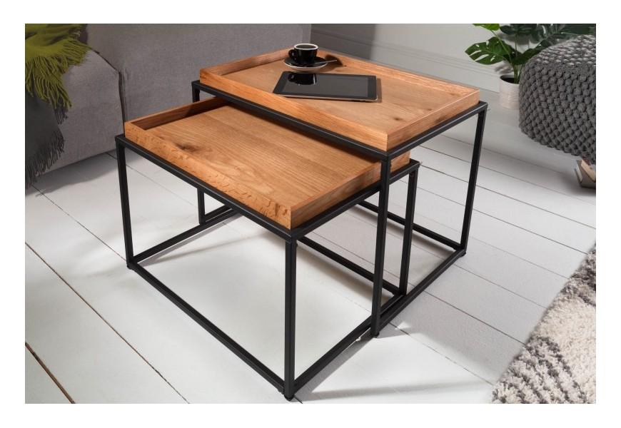 Set obdĺžnikových drevených príručných stolíkov Elements v industriálnom štýle