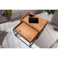 Industriálny dizajnový set obdĺžnikových príručných stolíkov Elements s hnedou povrchovou doskou 45cm
