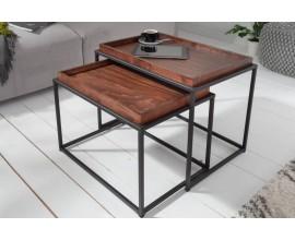 Industriálny vkusný set obdĺžnikových príručných stolíkov Elements s drevenou povrchovou doskou 45cm