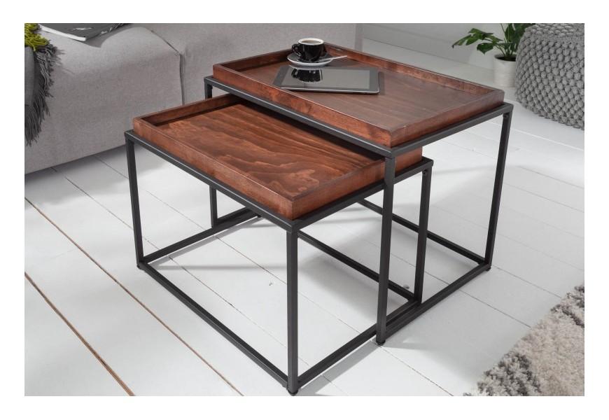 Industriálny set príručných stolíkov Elements z dreva s obdĺžnikovou povrchovou doskou