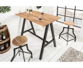 Industriálny masívny barový stôl Steele Craft s čiernymi kovovými nohami 120cm