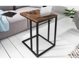 Industriálny príručný stolík Elements z drevenej dyhy a kovu  43cm