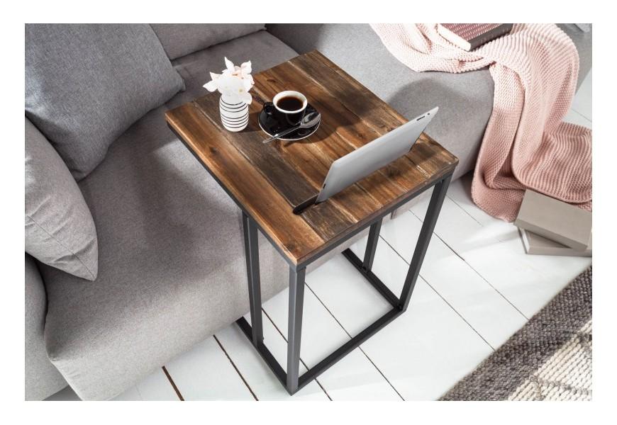 Industriálny príručný stolík Elements z masívneho akáciového dreva 43cm