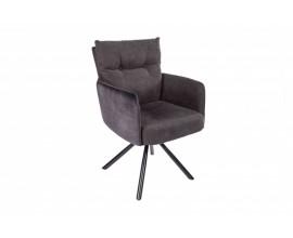 Moderná otočná jedálenská stolička Laggan s čiernymi nohami a antracitovým poťahom 90cm