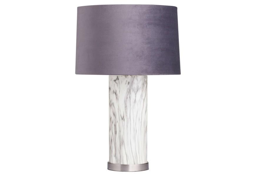 Vysoká nočná mramorová stolná lampa Arigentte so sivým tienidlom v art-deco štýle