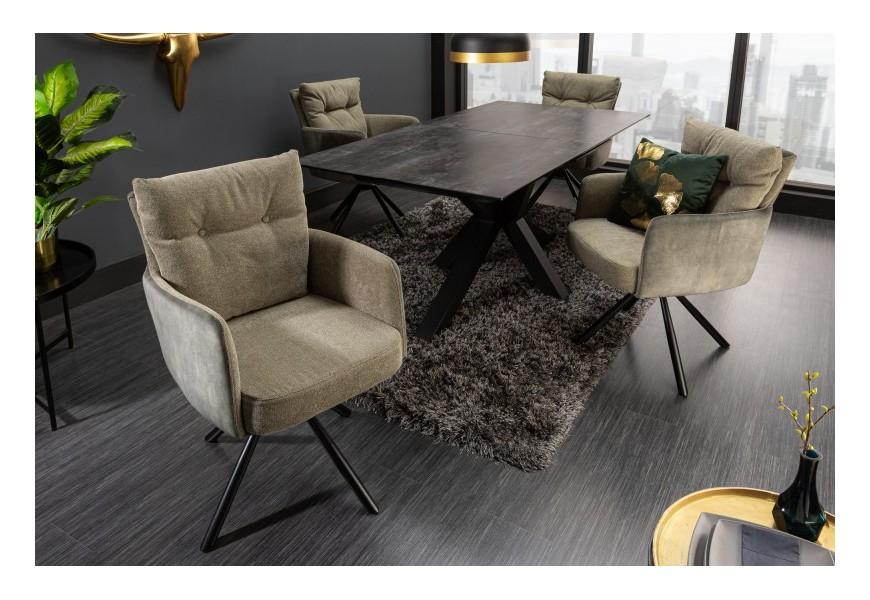 Moderná otočná jedálenská stolička Laggan v zelenohnedom poťahu 90cm