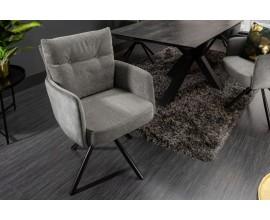 Moderná otočná stolička Laggan so sivými opierkami na ruky a vysokým operadlom 90cm
