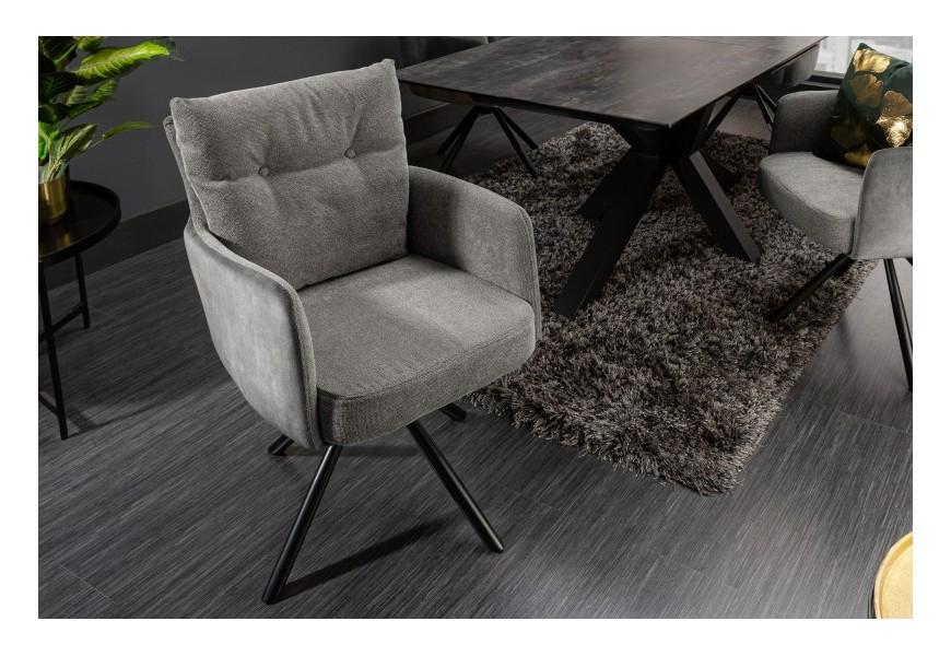 Štýlová moderná otočná jedálenská stolička Laggan s čiernou kovovou podstavou a sivým poťahom