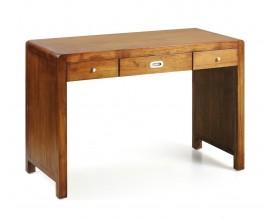 Dizajnový kancelársky stolík Flash z masívneho dreva mindi s tromi praktickými zásuvkami so striebornými rukoväťami