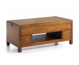 Koloniálny konferenčný stolík Flash z masívneho dreva mindi s dvomi zásuvkami 110cm