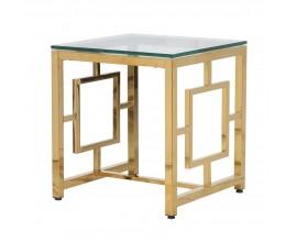 Art-deco hranatý príručný stolík Geoda so sklenenou doskou a zlatou kovovou konštrukciou 50cm
