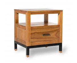 Koloniálny masívny nočný stolík MADHU z dreva mindi so zásuvkou a kovovou konštrukciou 50cm