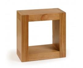 Koloniálna nástenná štvorcová polička MADHU z masívneho dreva mindi 40cm