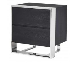 Moderný čierny stolík Fritz s úložným priestorom a chrómovou konštrukciou 60cm
