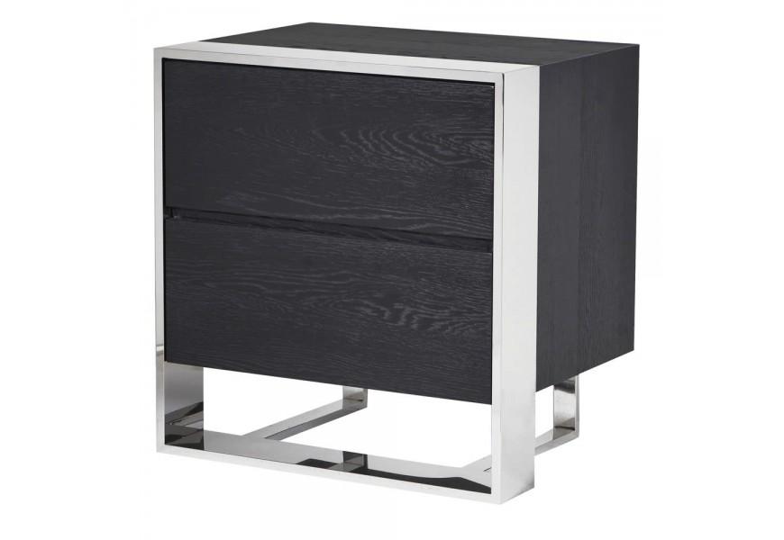 Nadčasový moderný čierny stolík Fritz s dubovým povrchom a chrómovými nohami s dvoma zásuvkami