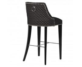 Baroková barová stolička Selmano v čiernom poťahu so vzorom a striebornými prvkami 110cm