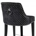 Zámocká barová stolička Selmano v čiernom poťahu so vzorom a striebornými prvkami 110cm