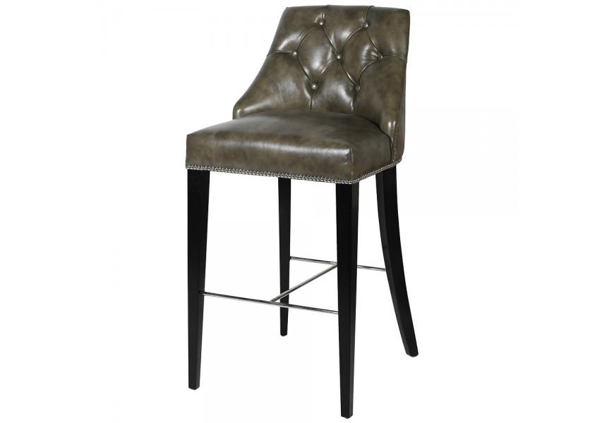 Zámocká hnedozelená barová stolička Selmano v Chesterfield štýle s čiernymi nohami a striebornými detailmi