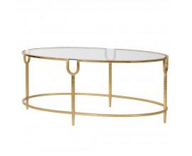 Art-deco konferenčný stolík Luidy so zlatou konštrukciou a sklenenou oválnou doskou 101cm