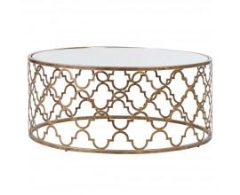 Orientálny kruhový konferenčný stolík Meolita II v zlatom prevedení so sklenenou doskou 106,6cm
