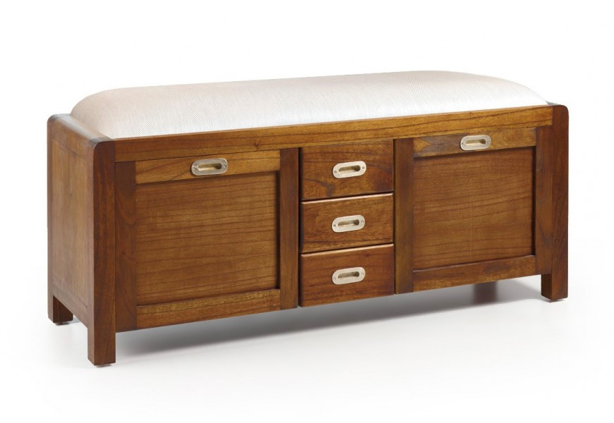 Koloniálna luxusná lavica s botníkom Flash z masívneho dreva mindi 125cm
