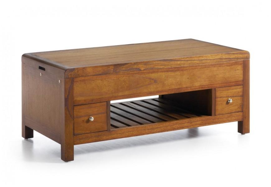 Dizajnový koloniálny konferenčný stolík z masívneho dreva mindi s dvomi zásuvkami a vyklápacou povrchovou doskou