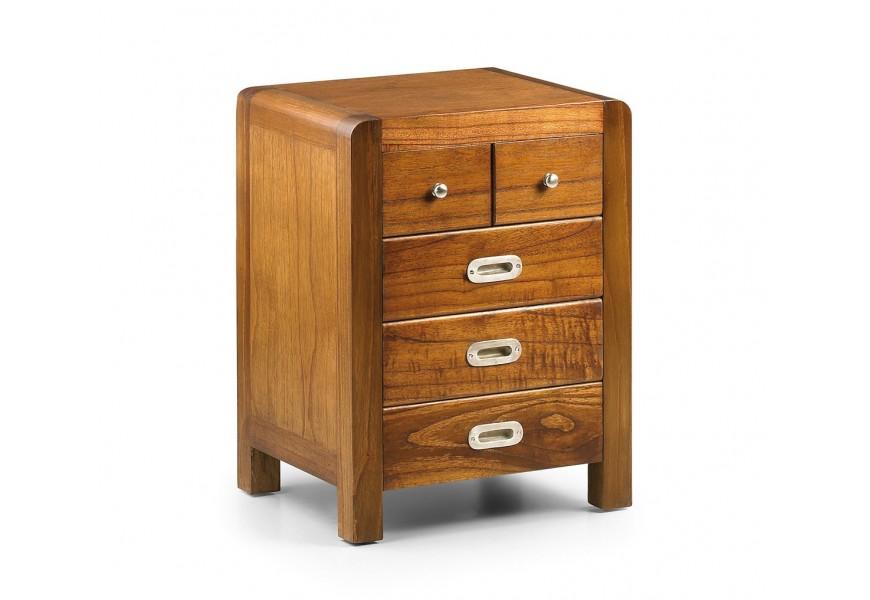 Štýlový koloniálny nočný stolík Flash z masívneho dreva mindi v hnedej farbe s piatimi praktickými zásuvkami