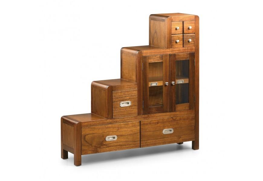 Dizajnová koloniálna skrinka Flash v tvare schodíkov z masívneho dreva mindi so zásuvkami a dvierkami