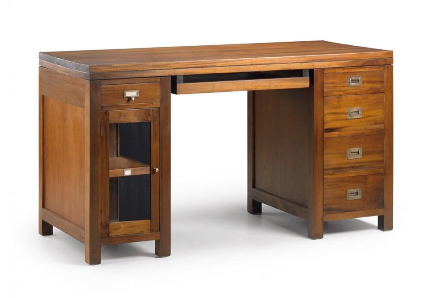 Luxusný koloniálny kancelársky stôl Flamingo z masívneho mahagónového dreva so zásuvkami a sklenenými dvierkami