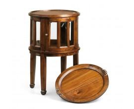 Koloniálny kruhový príručný stolík Flamingo z masívneho mahagónového dreva 50cm