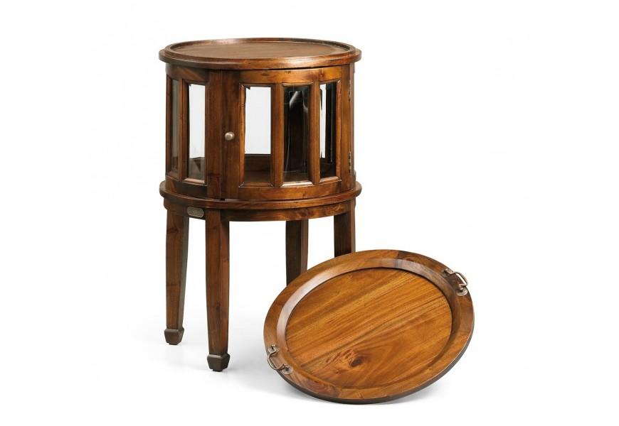 Luxusný okrúhly príručný stolík Flamingo z masívneho mahagónového dreva s odkladacím priestorom na fľaše