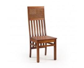 Koloniálna masívna stolička Flamingo s operadlom z ratanu 110cm