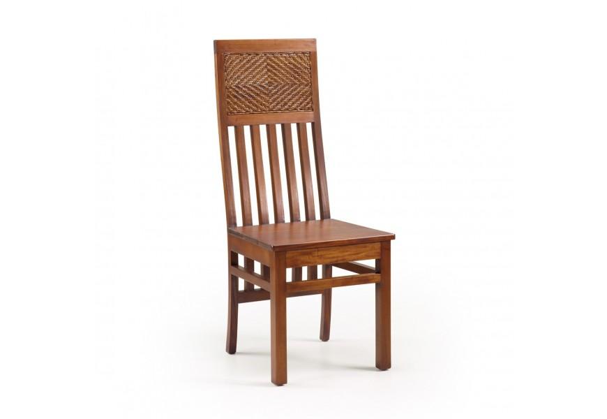 Luxusná koloniálna stolička Flamingo z masívneho mahagónového dreva a ratanu v hnedej farbe