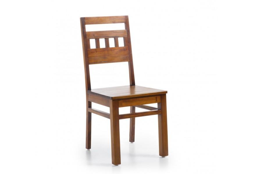 Štýlová masívna stolička Flamingo z masívneho mahagónového dreva hnedej farby