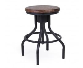 Dizajnová industriálna okrúhla stolička Hierro z masívneho mangového dreva a kovu s nastaviteľnou veľkosťou