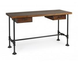 Dizajnový industriálny pracovný stolík Hierro z masívneho magového dreva s čiernou kovovou konštrukciou a s dvomi zásuvkami