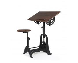 Industriálny dizajnový rysovací stôl s taburetkou HIERRO z masívneho mangového dreva s kovovou konštrukciou 80cm