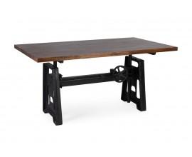 Industriálny jedálenský stôl HIERRO z masívneho mangového dreva s kovovou konštrukciou 160cm