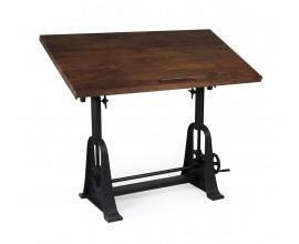 Industriálny dizajnový rysovací stôl HIERRO z masívneho mangového dreva 130cm