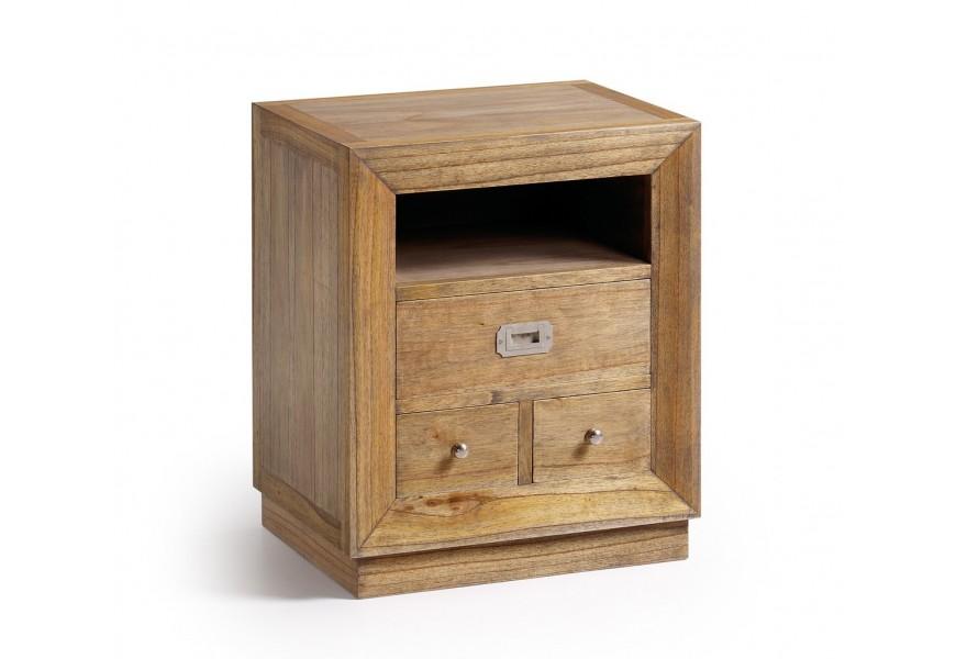 Luxusný masívny nočný stolík s tromi zásuvkami Merapi