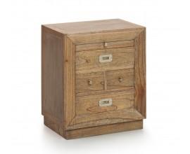 Luxusný masívny nočný stolík so zásuvkami a výsuvnou doskou Merapi