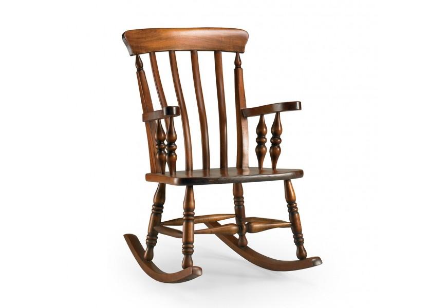 Exkluzívne masívne hojdacie kreslo M-Vintage z tmavohnedého mahagónového dreva