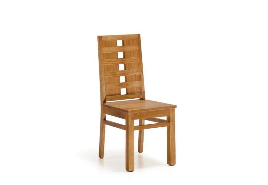 Luxusná koloniálna masívna jedálenská stolička MADHU z dreva mindi v hnedej farbe