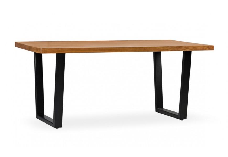 Masívny luxusný stôl Madhu z dreva mindi so železnými nohami 180cm