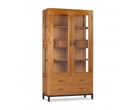 Masívna luxusná vitrína MADHU z dreva mindi so sklenenými dvierkami a zásuvkami 190cm