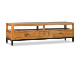 Koloniálny TV stolík MADHU z masívneho dreva mindi so zásuvkami a poličkami 150cm